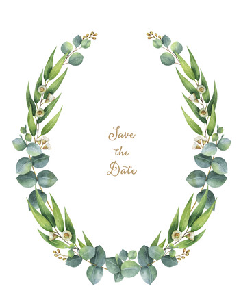 Watercolor wreath with green eucalyptus leaves and branches.