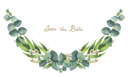 aromatic: Watercolor wreath with green eucalyptus leaves and branches.