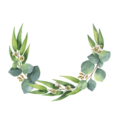 Watercolor vector wreath with green eucalyptus leaves and branches. Vettoriali
