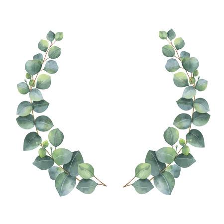 シルバー ダラー ユーカリの葉と枝と水彩ベクトル花輪。