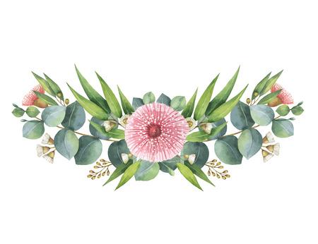 グリーン ユーカリの葉と枝と水彩ベクトル花輪。