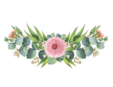 Watercolor vector wreath with green eucalyptus leaves and branches. Фото со стока - 72083624