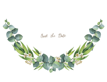 Watercolor vector wreath with green eucalyptus leaves and branches. 스톡 콘텐츠