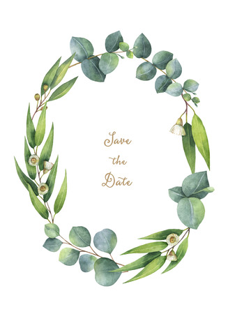 Watercolor oval wreath with green eucalyptus leaves and branches.