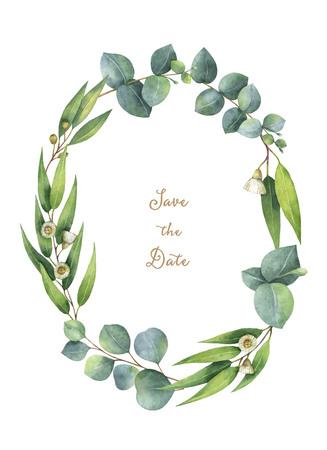Waterkleurige ovale krans met groene bladeren en takken van de eucalyptus. Stockfoto