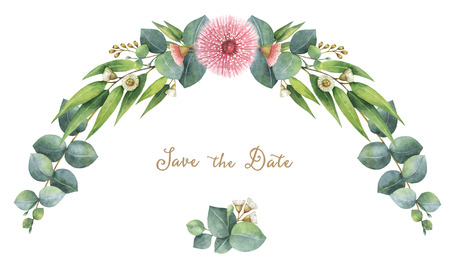 Watercolor krans met groene eucalyptus bladeren en takken. Stockfoto