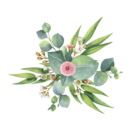 Watercolor bouquet with green eucalyptus leaves and branches.