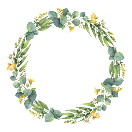 Watercolor round wreath with eucalyptus leaves and branches.
