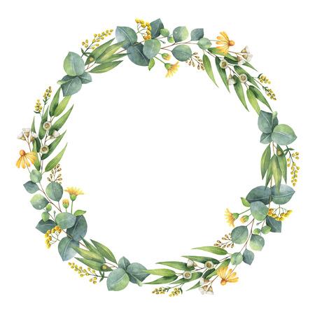 Couronne ronde aquarelle avec des feuilles d'eucalyptus et des branches. Banque d'images - 73245810