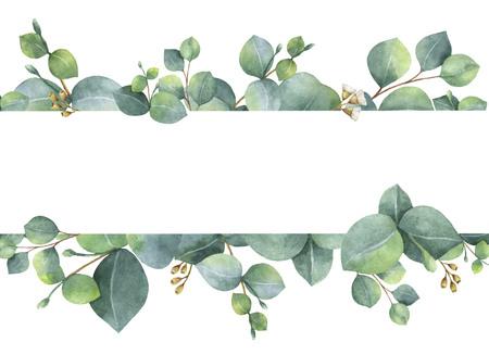 Waterverf het groene bloemen kaart met zilveren dollar eucalyptus bladeren en takken op een witte achtergrond.