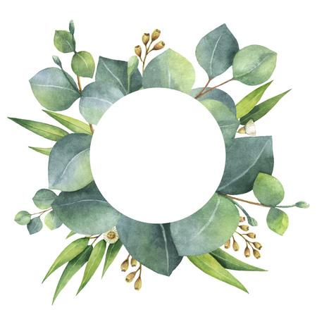 ユーカリの葉と枝と水彩の丸い花輪。