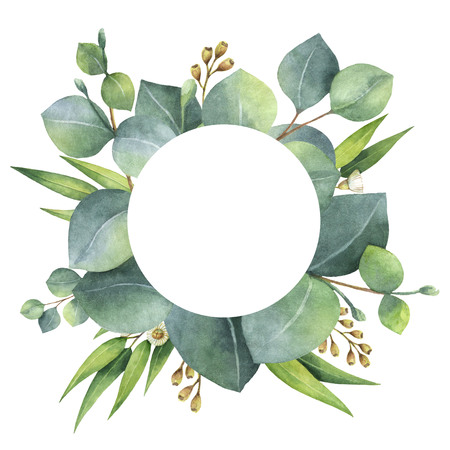 Watercolor round wreath with eucalyptus leaves and branches. Фото со стока - 73246408