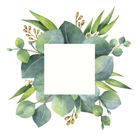 Watercolor square wreath with eucalyptus leaves and branches. 스톡 콘텐츠