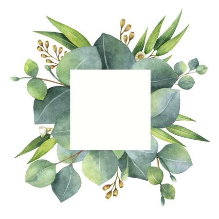 Waterkleurige vierkante kroon met bladeren en takken van eucalyptus.
