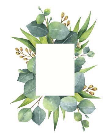 Waterverf groene bloemen kaart met eucalyptus bladeren en takken geïsoleerd op een witte achtergrond.