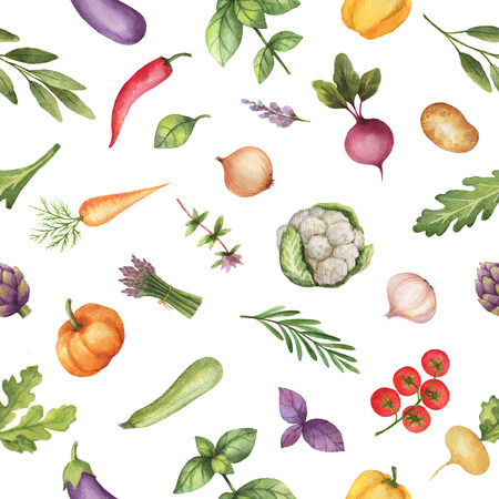 Watercolor seamless pattern vegetables and herbs isolated on white background.