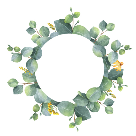 Watercolor wreath with silver dollar eucalyptus leaves and branches. Stok Fotoğraf