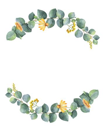 シルバー ダラー ユーカリの葉と枝と水彩の花輪。 写真素材