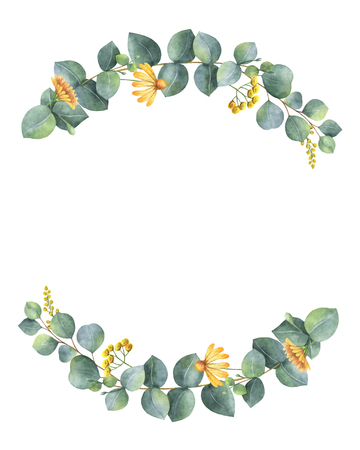 Watercolor wreath with silver dollar eucalyptus leaves and branches. Stock Photo