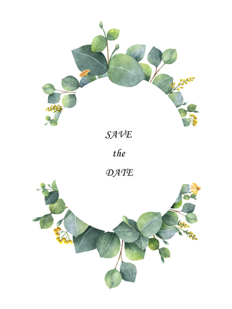 Watercolor wreath with silver dollar eucalyptus leaves and branches. Archivio Fotografico