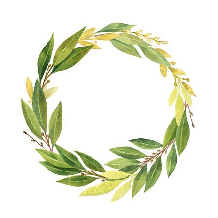 Couronne de feuilles aquarelle baie isolé sur fond blanc. Banque d'images - 74161879