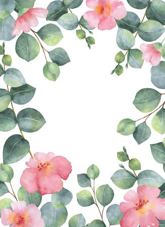 花水彩グリーン カード シルバー ダラー ユーカリの葉し、枝が白い背景に分離します。 写真素材