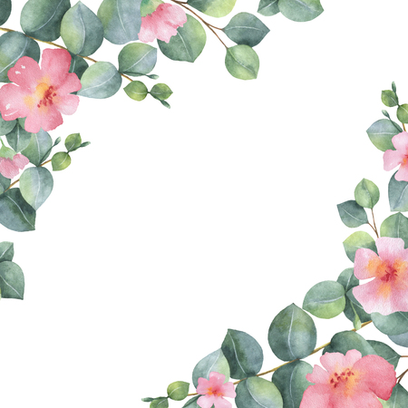 Watercolor green floral card with silver dollar eucalyptus leaves and branches isolated on white background. Banco de Imagens - 76800314