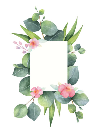 Watercolor green floral card with silver dollar eucalyptus leaves and branches isolated on white background.