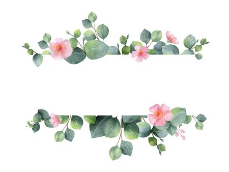 Waterverf groene bloemen banner met zilveren dollar eucalyptus bladeren en takken geïsoleerd op een witte achtergrond.
