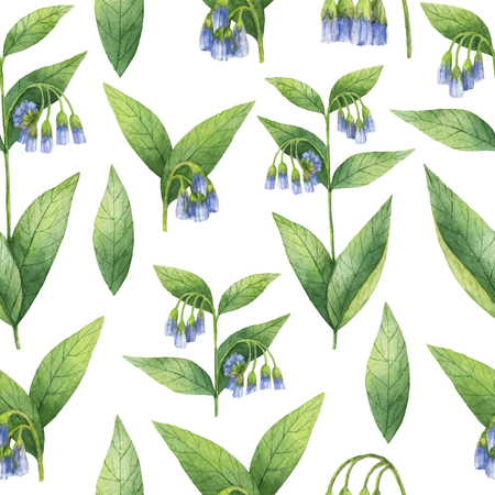 Hand drawn watercolor seamless pattern of Comfrey.