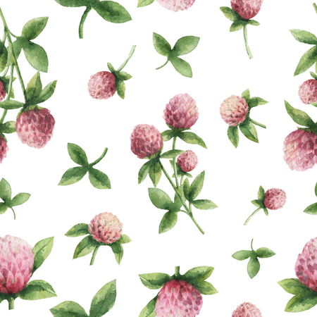Hand drawn watercolor seamless pattern of Red clover.