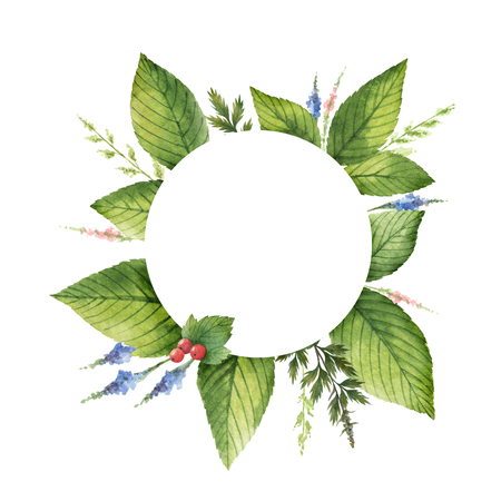 Watercolor hand painted round wreath with herbs and spices.