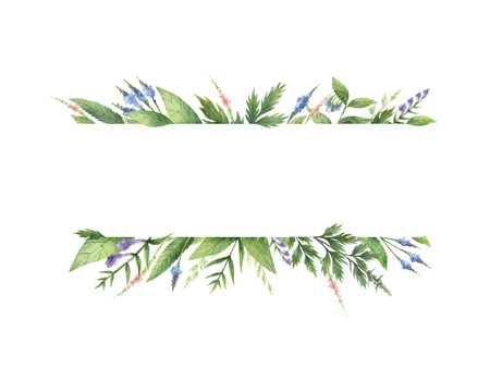 Watercolor hand painted banner with herbs and spices.