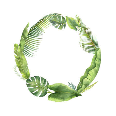 Watercolor round frame tropical leaves and branches isolated on white background. Stock Photo