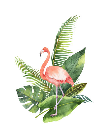 Watercolor bouquet of tropical leaves and the pink Flamingo isolated on white background. Stock Photo