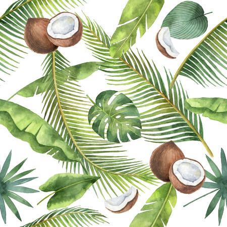 Watercolor seamless pattern of coconut and palm trees isolated on white background.