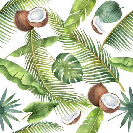 Waterverf naadloos die patroon van kokosnoot en palmen op witte achtergrond wordt geïsoleerd. Stockfoto