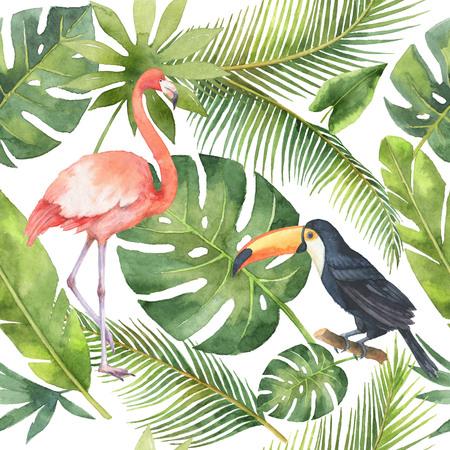 Waterverf naadloos patroon van kokosnoot en palmbomen geïsoleerd op een witte achtergrond.