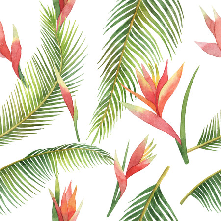 Watercolor seamless pattern of exotic flowers and jungle leaves isolated on white background.