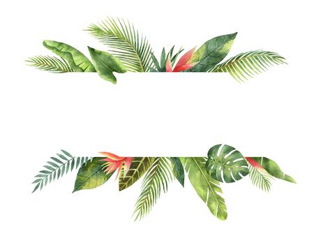 Aquarel banner tropische bladeren en takken geïsoleerd op een witte achtergrond. Stockfoto