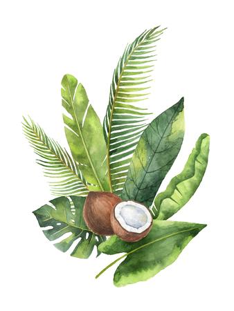 ココナッツとヤシの木が白い背景で隔離の水彩有機花束。 写真素材