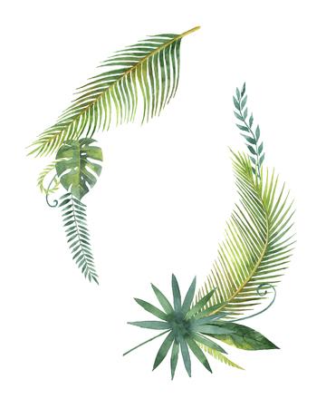 수채화 화 환 열 대 나뭇잎과 흰색 배경에 고립 된 분기. 스톡 콘텐츠