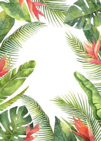 エキゾチックな花や葉は、白い背景で隔離の水彩の長方形フレーム。