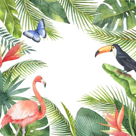열 대 조류와 흰색 배경에 고립 된 이국적인 식물의 수채화 프레임.