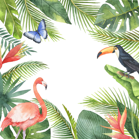 Watercolor frame of tropical birds and exotic plants isolated on white background. Stockfoto