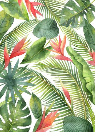 Waterverfkaart met tropische die bloemen en bladeren op witte achtergrond worden geïsoleerd.