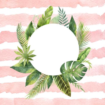 熱帯水彩画の丸いフレームは、葉し、ストライプの背景に枝します。