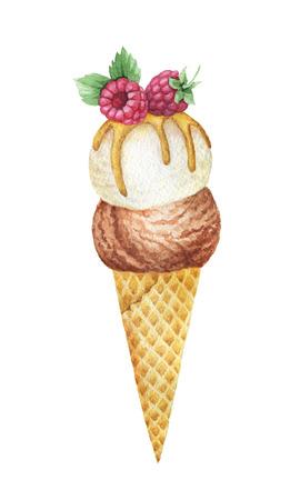 초콜렛과 바닐라 아이스크림을 가진 수채화 물감 와플 콘은 나무 딸기로 꾸며진다.