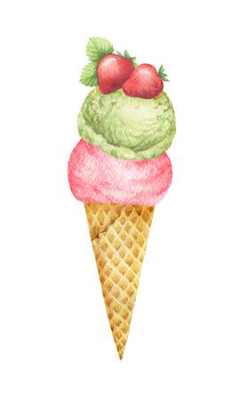 Aquarel wafel kegel met pistache-ijs en fruit versierd met aardbeien.