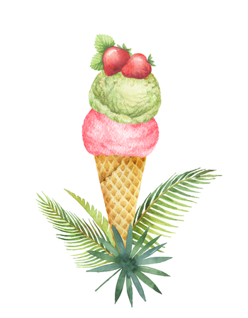 Watercolor tropical leaves and waffle cone with pistachio ice cream and fruit decorated with strawberries.